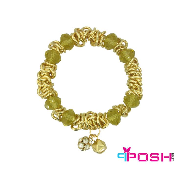 """- Crystal and stone ball stretch bracelet - Gold colour - Dimension: 7.28"""""""