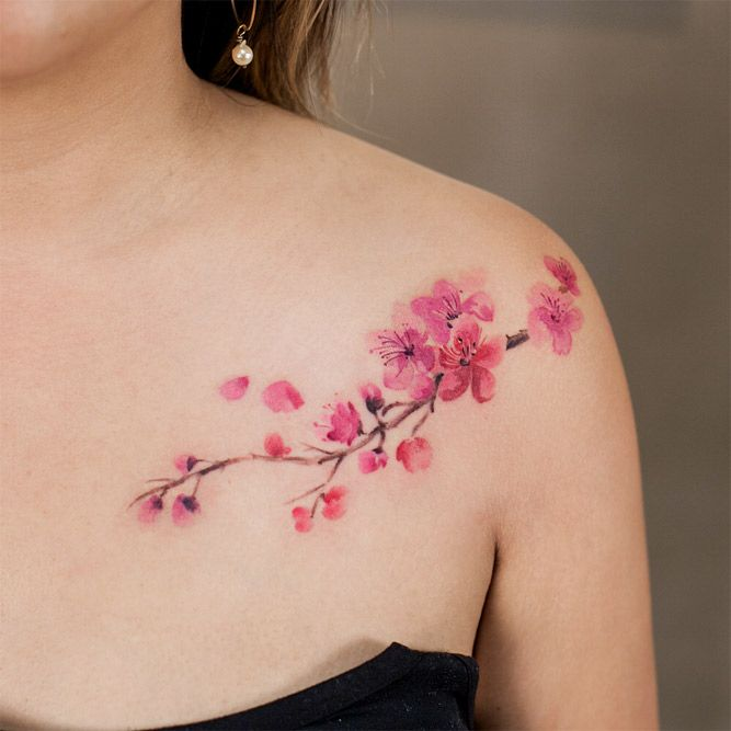 23 Flower Tattoos Designs And Meanings For Your Inspo Cherry Blossom Tattoo Shoulder Tattoo Designs And Meanings Blossom Tattoo