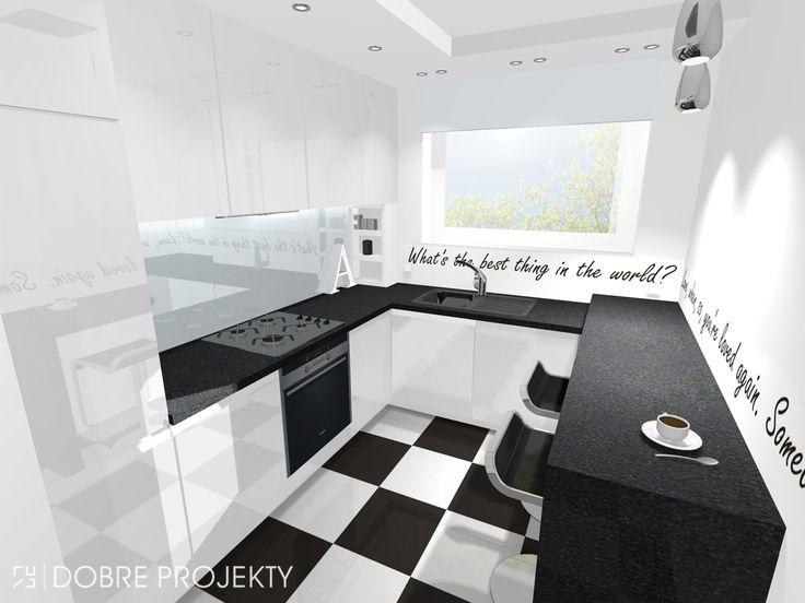 biala kuchnia z czarnym blatem  Szukaj w Google  @home   -> Kuchnia Ecru Z Czarnym Blatem