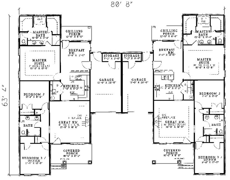 25 best ideas about duplex plans on pinterest duplex for Multi family house plans