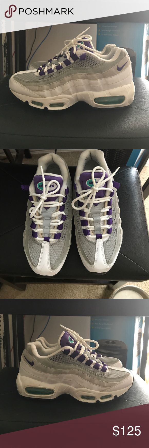 """Nike Air Max 95 """"Grape"""" Only worn 3 times. Size 6.5. White/court purple-emerald Green- Wolf grey. Style #554970-151. Released from the vault in 2015 at $170. Nike Shoes Sneakers"""