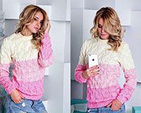 Вязанный свитер бело-розовый
