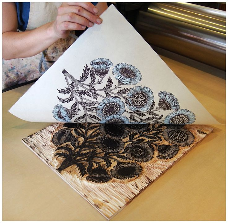 Daisy Bouquet Woodcut Print, Woodblock Print by Tugboat Printshop
