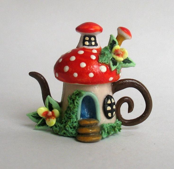 mystical fairies house creations with polymer clay | Minature TOADSTOOL WHIMSY FAIRY HOUSE TEAPOT by by ArtisticSpirit