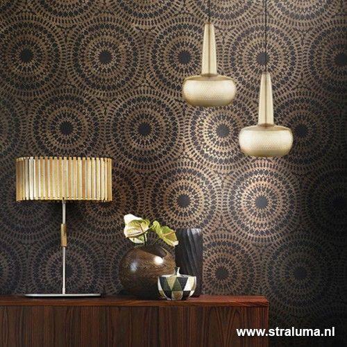 Design hanglamp mat goud Clava woonkamer - www.straluma.nl