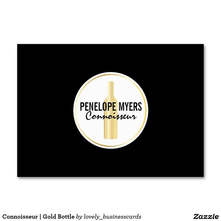 Connoisseur | Gold Bottle Large Business Card #winebottle #winery #winecconnoisseur #vineyard #wines
