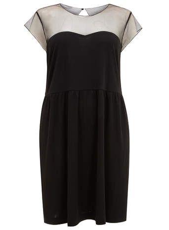 Carmakoma Kleid mit durchsichtigem Einsatz, Schwarz