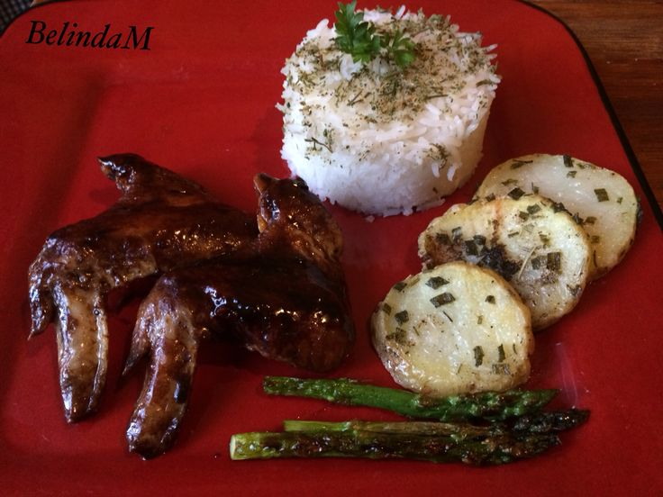 Cocacola chicken with with herbed basmati rice with roasted potatoe and asparagus