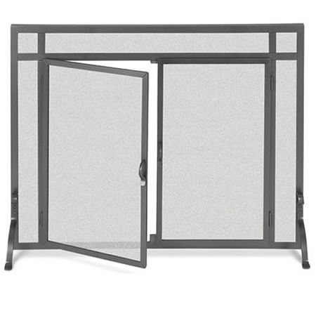 Pilgrim Forged Iron Flat Fireplace Screen with Doors