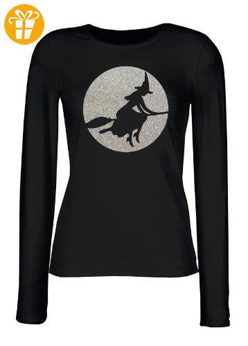 Halloween Damen Langarm-Shirt ::: Witch Riding on Broom ::: für Halloween (*Partner-Link)