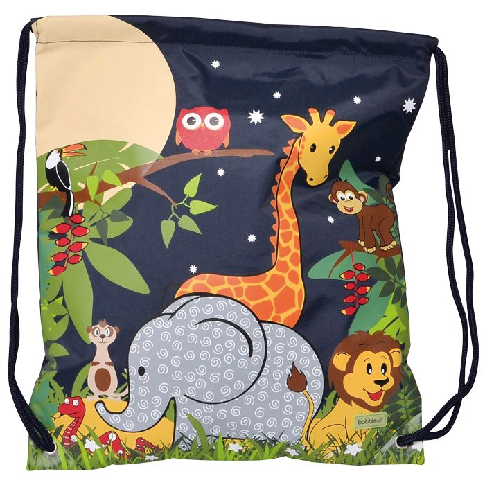 This adorably cute Jungle-themed #BobbleArt drawstring swim or library books bag is made of a very durable nylon fabric and inside has a large, internal mesh pocket with zip closure. #forkids #kidsbags