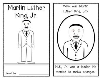 """You are receiving an 8 page reader about Martin Luther King Jr.  I hope your students will enjoy being able to read this book.  Easy assembly: print, fold, stack and staple on the left!  Please check out my other MLK Jr items in my TPT store: """"Just Like Martin"""" (poster/graphic organizer/comparison sheet)  Thank you for stopping by!"""