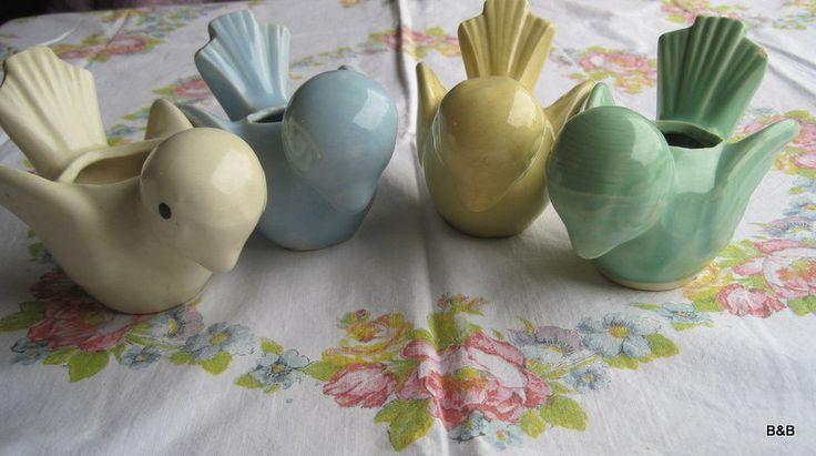 LOVE!  5 Vintage 1950's McCoy Pottery Birds Planters Set. $125.00, via Etsy.