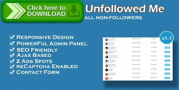 [ThemeForest]Free nulled download Twitter tool - who unfollowed me from http://zippyfile.download/f.php?id=56132 Tags: ecommerce, bulk unfollow, twitter, twitter tool, unfollow, who unfollowed me