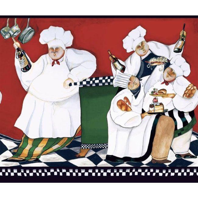 Fat Chef Wallpaper Border Am8847bd Cafe Kitchen Fat Chef Decor