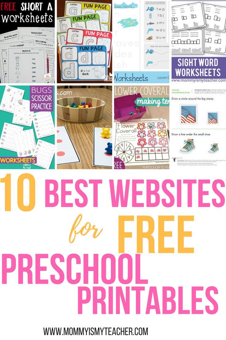 Look at all these websites for free preschool printables! It will make my preschool at home so easy!