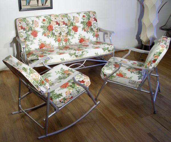 Aluminum Glider Rocker And Chair Patio Set