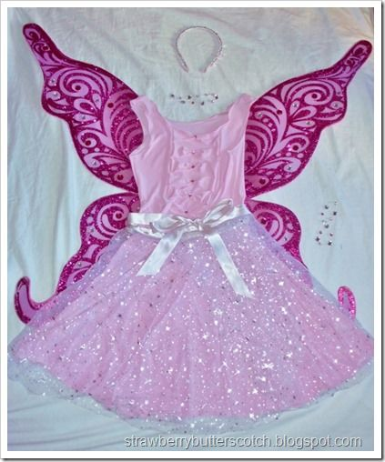 Sparkly pink crystal fairy costume.  Made up of pieces that can be worn separately.  Nice!