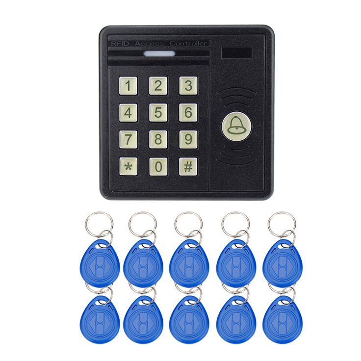 Waterproof access control keypad RFID card reader   EM4100 keyfobs for door access control system
