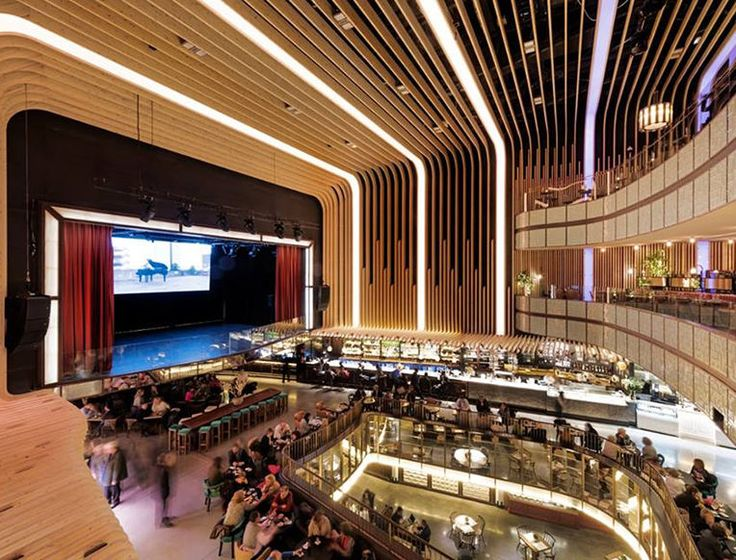 Platea Madrid - Madrid, Spain - food hall with 6 Michelin-starred eateries centered around movie theater/live music stage