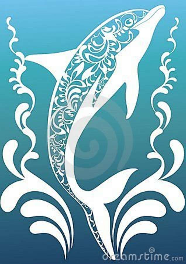 Blue Ornamental Dolphin Royalty Free Stock Photography - Image: 23175797