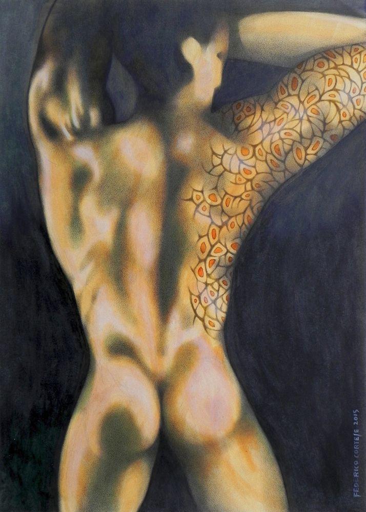 DIPINTO AD OLIO SU CARTA. Studio di nudo maschile con tatuaggio. Painting, art