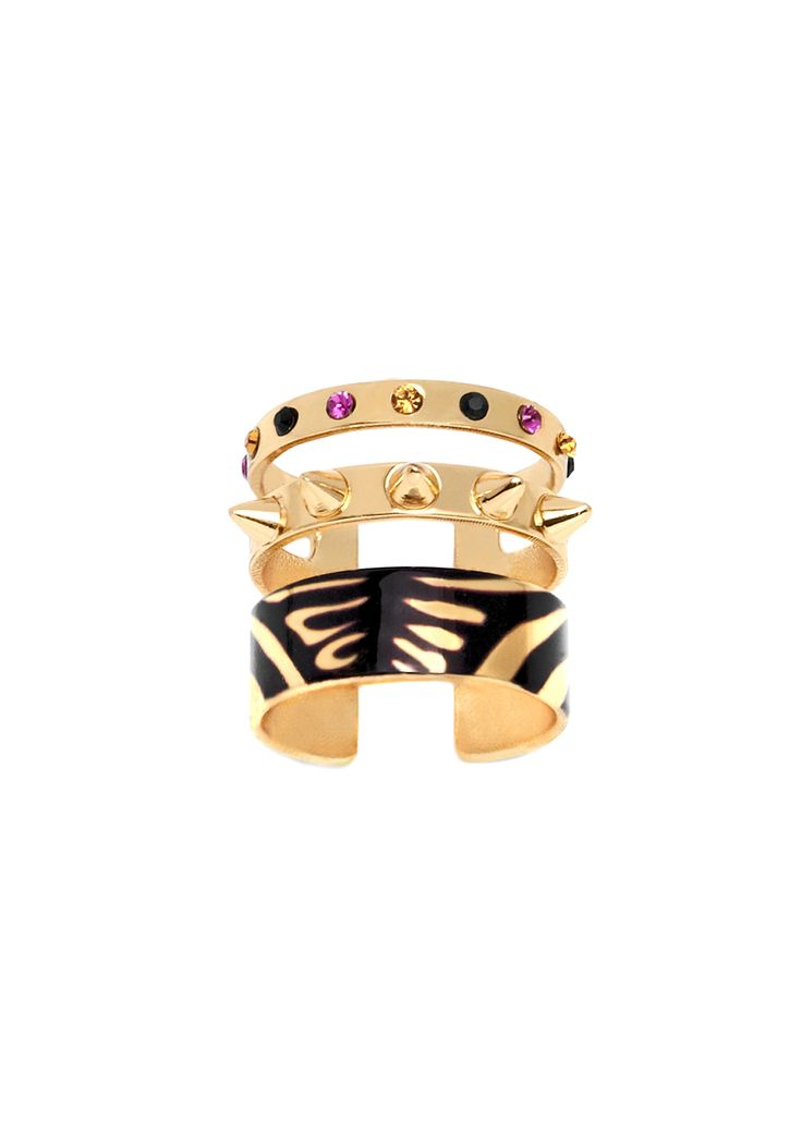 Maria Francesca Pepe Ring with sublimation spikes & encrusted swarovski Shop now> https://www.mariafrancescapepe.com/showplarge.aspx?prodid=711&catid=47&utm_source=Social&utm_medium=Pinterest&utm_campaign=SS14_triplering_sublimation%20