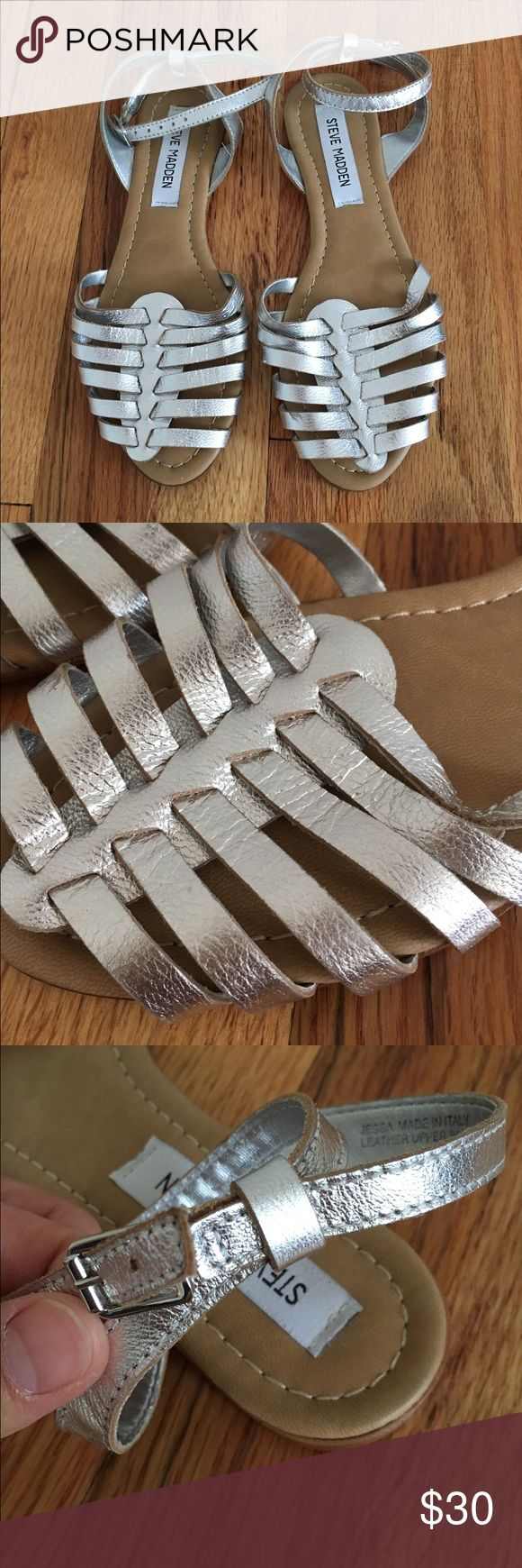 Steve Madden Silver Flat Sandal Very cute silver flat sandal with buckle detail on the side. Only worn once. Steve Madden Shoes Sandals