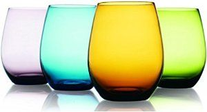 Coloured, stemless wine glasses, $28.95