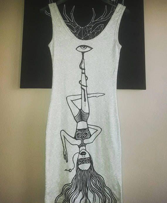 tarot dress tshirt croptop hanged girl drawing eye gothic