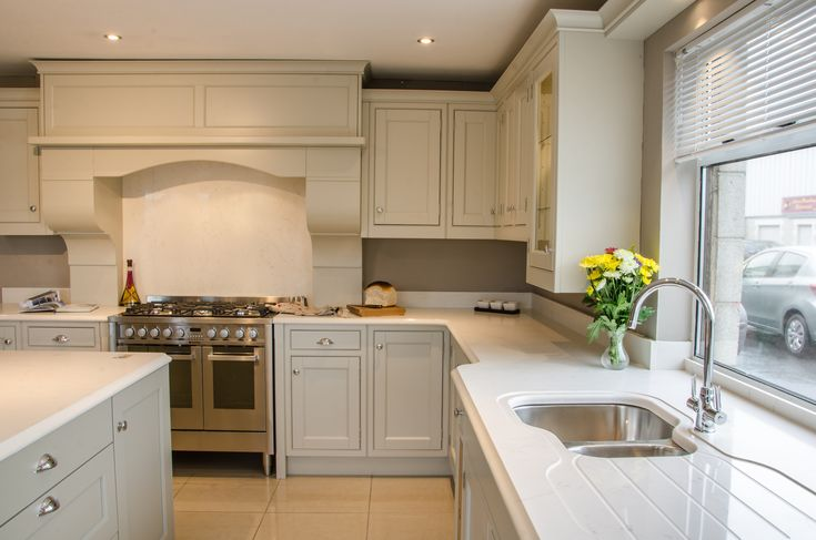 Stone backsplash counter in an inframe kitchen at Newhaven Kitchens in Carlow.