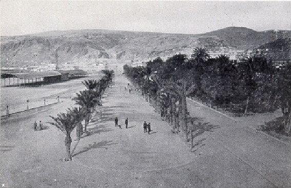 Paseo del Malecón de Almería (actual Parque de Nicolás Salmerón). 1909