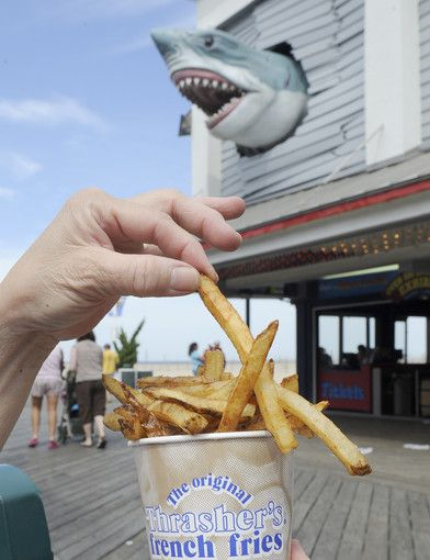 Thrasher's french fries, Ocean City, Md...with vinegar please (fun thing to find on Pinterest!) The kids love that shark lol.