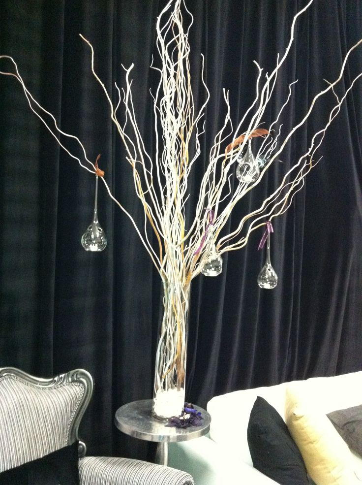 Tortured Willow with hanging votives Presented on mirror base with tea lights