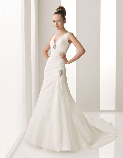 A-line floor length organza bridal gown with ruffle embellishment
