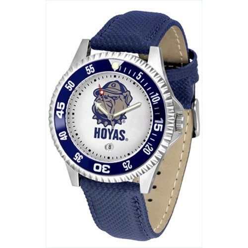 "Georgetown Hoyas NCAA ""Competitor"" Mens Watch by SunTime. $73.79. Color Coordinated. Calendar Date Function. Rotating Bezel. Showcase The Hottest Design In Watches Today! A Functional Rotating Bezel Is Color Coordinated To Highlight Your Favorite Team Logo. A Durable, Long Lasting Combination Nylon/Leather Strap, Together With A Calendar Date, Round Out This Best Selling Timepiece.. Save 10%!"