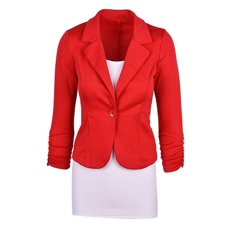 Women's Casual Work Solid Color Knit Blazer Plus Size One button Jacket(Navy blue,L/US-12~14)