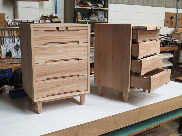 ready for polishing, a pair of Blackbutt bedside tables in Mid Century Style. No veneered panels in sight..entirely solid Blackbutt