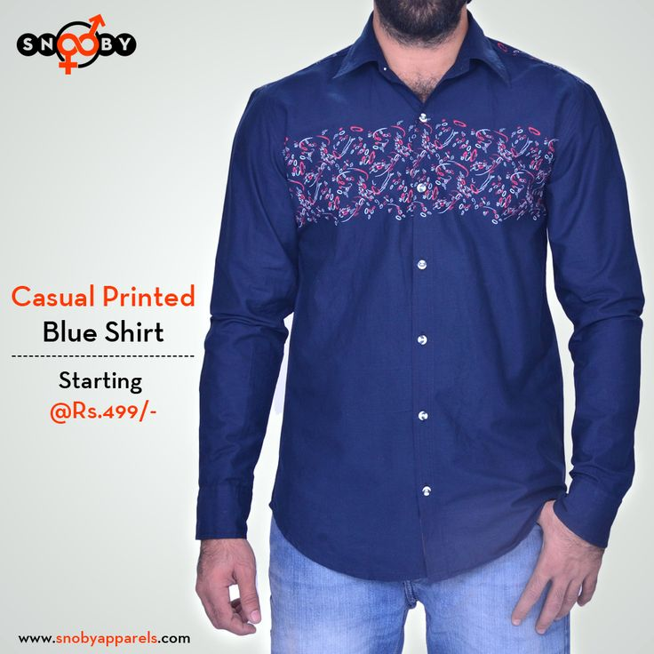 Amplify your style wearing this button-down casual printed #BlueShirt. Club it with a pair of chinos to get a complete look.