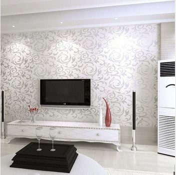 Nuova carta da parati moderna del PVC 3D Silver parete Rotolo di carta per parete TV Divano Sfondo Soggiorno camera da letto R79 (Cina (continente))