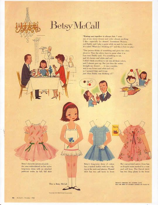 Vintage Betsy McCall Paper Doll eBay