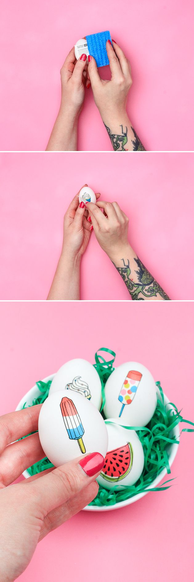 Learn how to make these temporary tattoo Easter Eggs in 10 minutes!