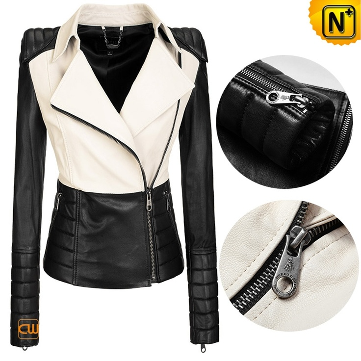 Women Leather Jackets Top Popular Black White Contrast Slim Fit Leather Jacket CW608364 $468.89 - www.cwmalls.com