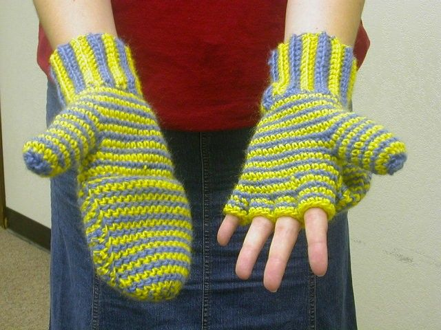 These mittens convert to fingerless gloves by  pulling back the mitten top. Size: Women's medium,  or teens. For a smaller size to fit p...