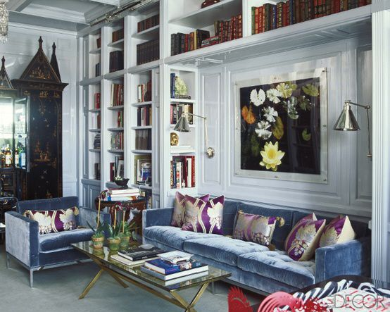 from the visual vamp--love the built-ins around the sofa niche and wall mounted lamps--pretty color too on-knoll-sofa-in-periwikle-velvet-featured-in-elle-decor-magazine.jpg 554×443 pixels