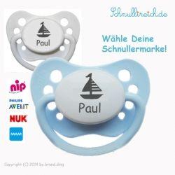 Schnuller Boot + Namen (Junge)