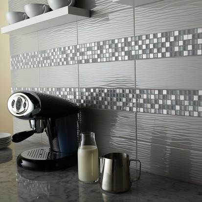 Backsplash - Urban Canvas™ 4 x 12 Wave Tile in Light Smoke Gloss and  Morello™ Mosaics in Moonstone.