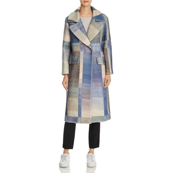 Whistles Hoshi Check Coat (2.328.085 COP) ❤ liked on Polyvore featuring outerwear, coats, multicolour, colorful coat, whistles coat, multi colored coat, lapel coat and checkered coat