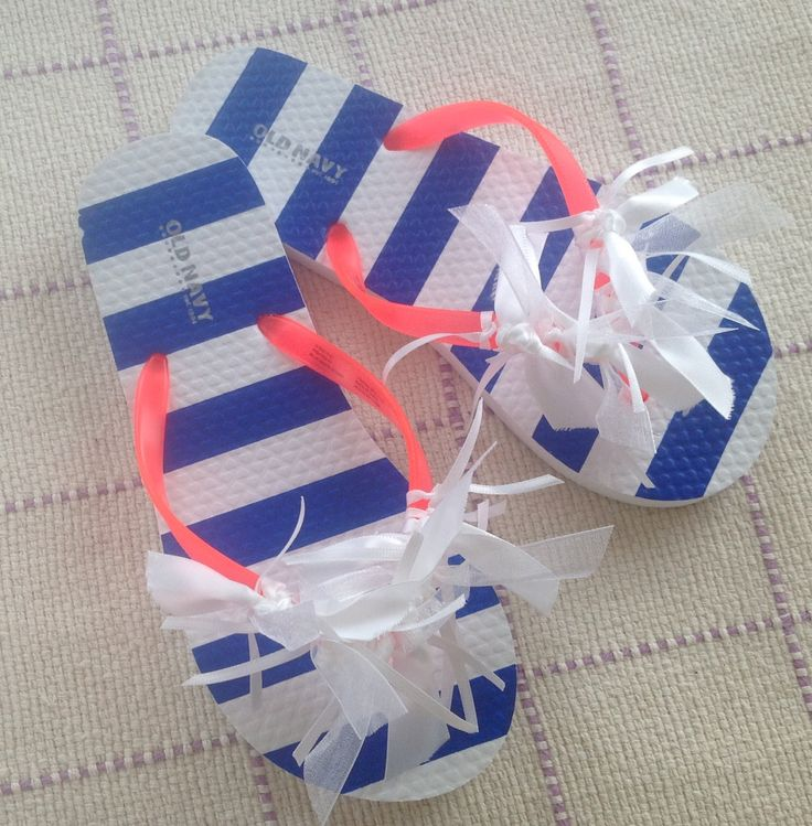 Nautical blue & white striped Old Navy flip flops w/coral straps, white ribbon ties. Girl's size 1-2. 100% new materials. by TheWillowWoodsShoppe on Etsy