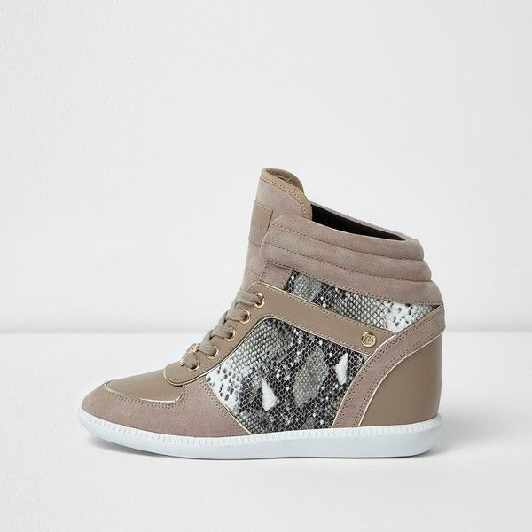 River Island Beige croc embossed wedged hi top sneakers ($120) ❤ liked on Polyvore featuring shoes, sneakers, beige, plimsolls / sneakers, shoes / boots, women, hi top wedge sneakers, wedges shoes, high top canvas sneakers and wedge heel sneakers